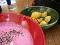 Saltibarsciai (cold beetroot soup).