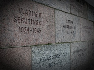 Memorial on exterior walls of building to commemorate those who perished within its walls.