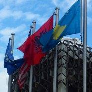 Kosovo, Albanian and EU Flags