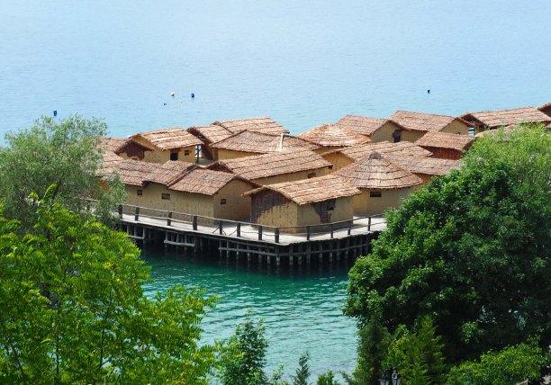 Bay of Bones Macedonian floating museum (traditional huts)