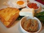 Cheese, eggs and malidzano aubergine spread