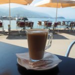 Capuccino outdoors by the lake in Macedonia (Ohrid)