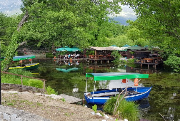 Boats at St. Naum, Ohrid, Macedonia