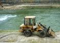 Construction digger by Vardar in Skopje