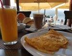 Feta cheese omelette outdoor breakfast Lake Ohrid, Macedonia