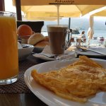 Feta cheese omelette outdoor breakfast Lake Ohrid, Macedonia