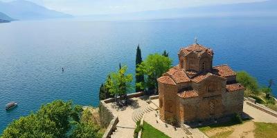 Beautiful landscape- St. John at Kaneo Church in Ohrid, Macedonia, Balkans