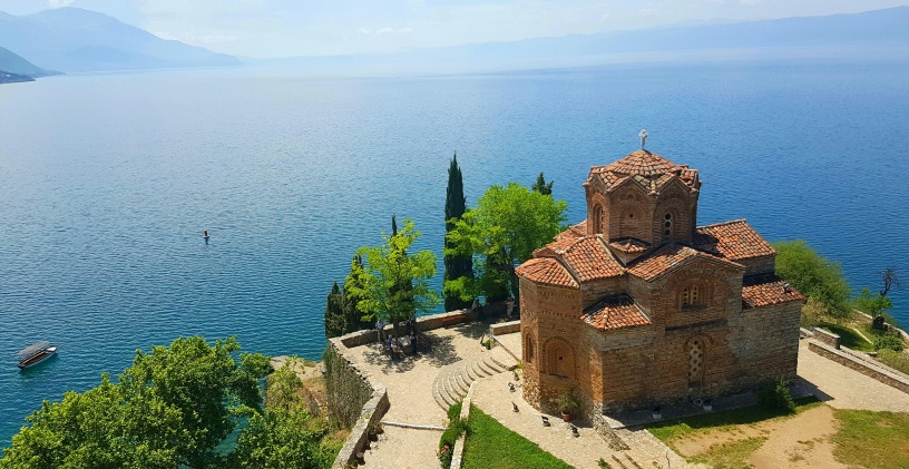 Beautiful landscape- St. John at Kaneo Church in Ohrid, Macedonia, Balkans