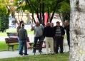 Old men gathered in park in Skopje, Macedonia