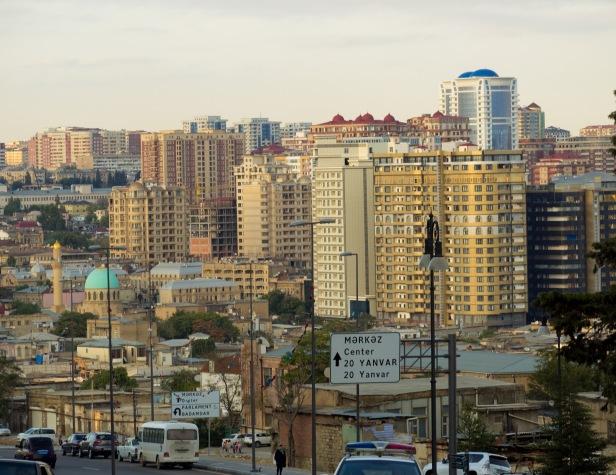 Baku cityscape architecture residential buildings azerbaijan