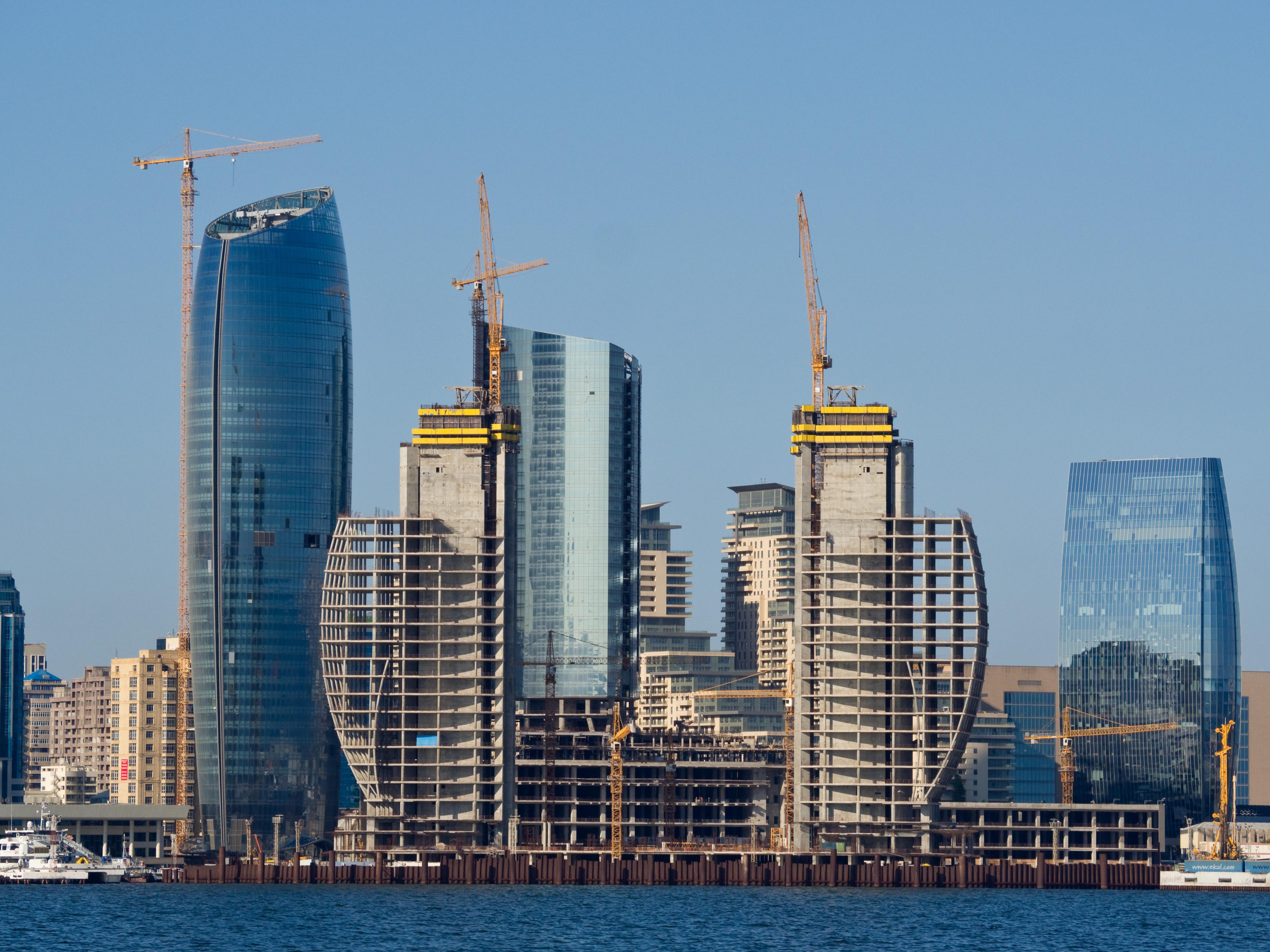 Baku skyline construction architecture