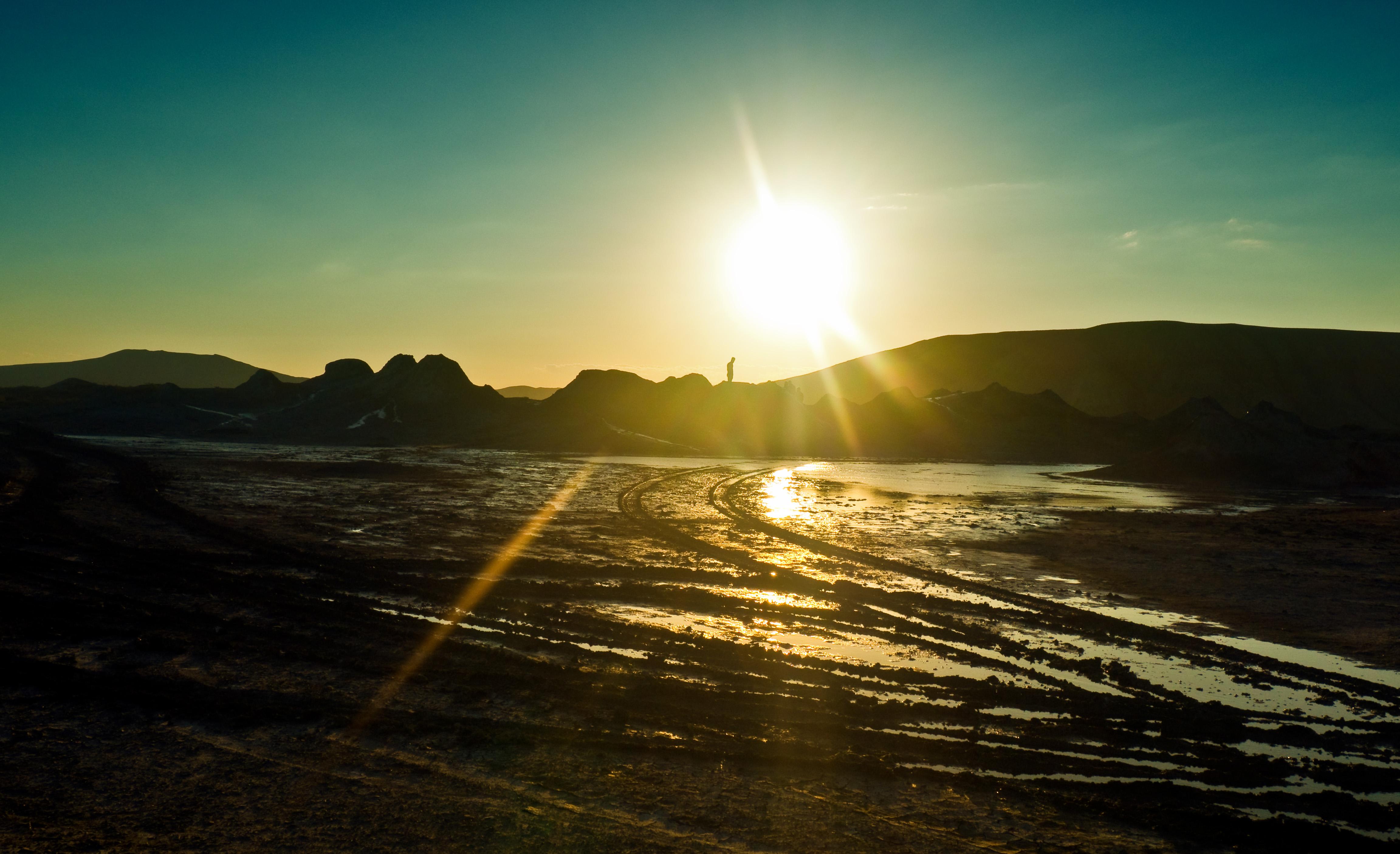 Qobustan Gobustan mud volcanoes sunset azerbaijan
