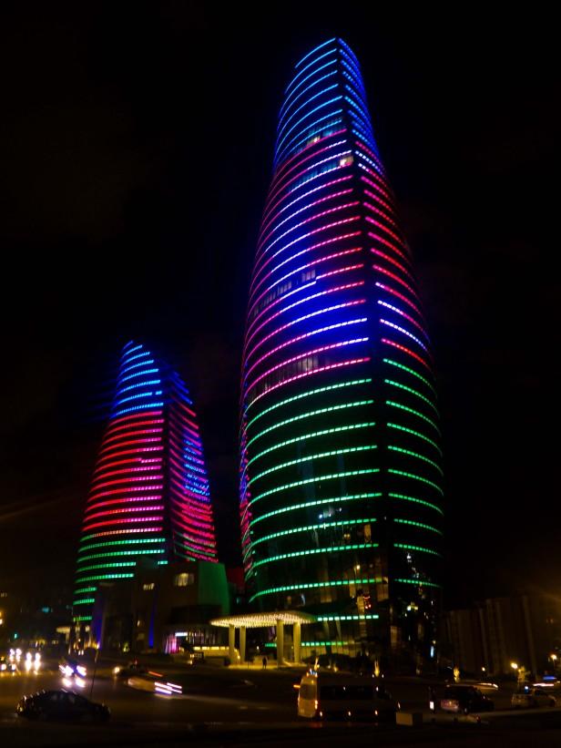 Flame towers Baku night