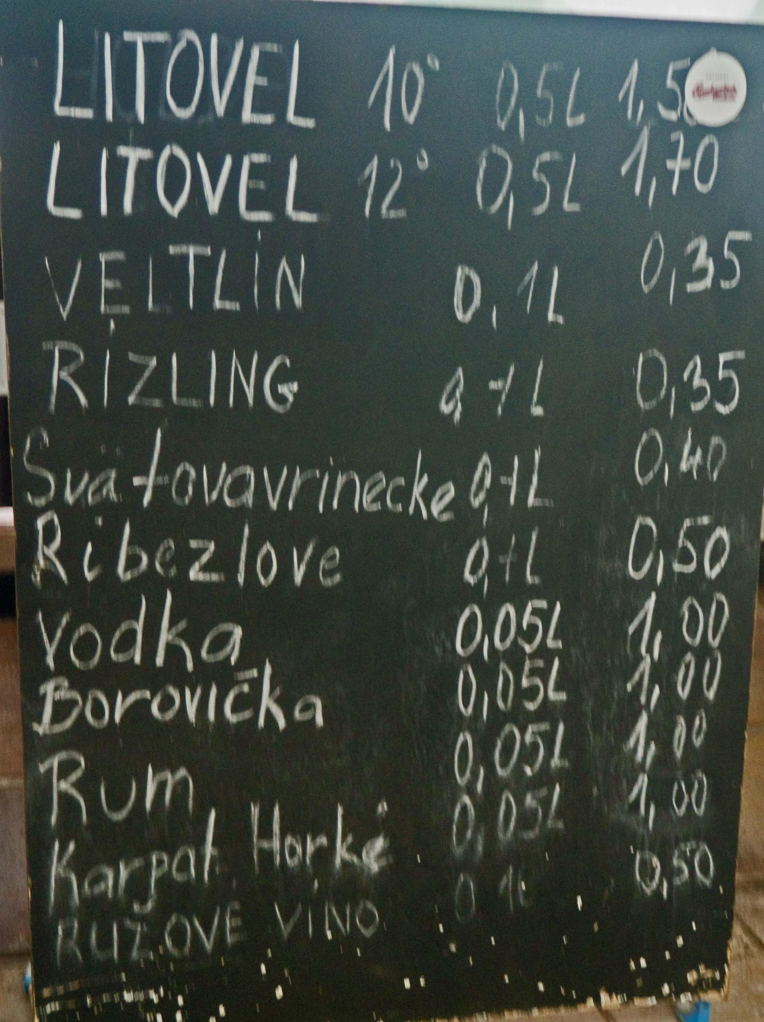 Cheap wine list Slovakia